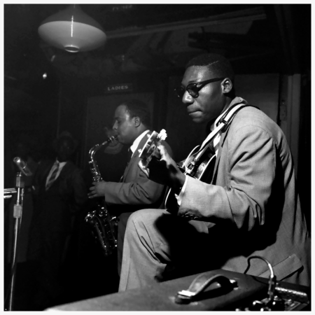 Guitarist Eddie McFadden (right), saxophonist Lou Donaldson, and organist Jimmy Smith performing at Small's 1958