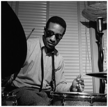 Max Roach plays the drums during the recording session for the Sonny Rollins, Volume 1 album 1956 dec 16