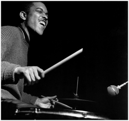 Billy Higgins during Jackie McLean's A Fickle Sonance session, Englewood Cliffs NJ, October 26, 1961 (photo by Francis Wolff)