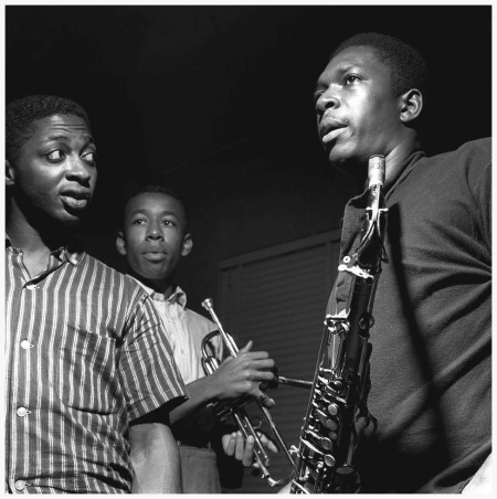 Curtis Fuller, Lee Morgan, and John Coltrane at Coltrane's Blue Train session, Hackensack NJ, September 15 1957 Photo by Francis Wolff