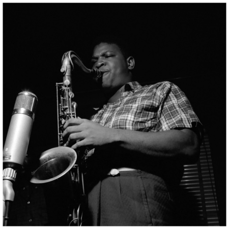 George Coleman plays the tenor saxophone during the recording session for Lee Morgan's City Lights album 1957