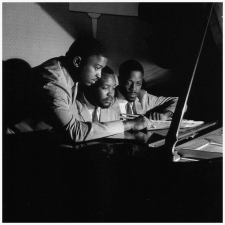 The Three Sounds [left to right] Andrew Simpkins, Gene Harris and Billy Dowdy at The Off Beat Club in New York City, September 1958 (photo by Francis Wolff)