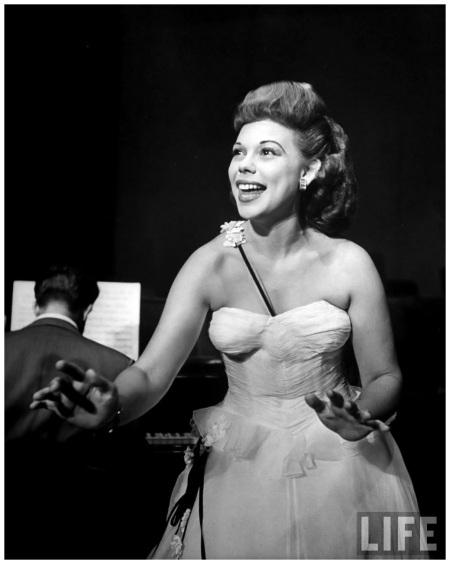 Jazz singer Joan Edwards performing on stage 1944 Nina Leen