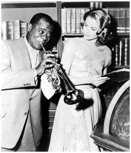 Louis Armstrong and Grace Kelly on the set of %22High_Society%221956 Library of Congress