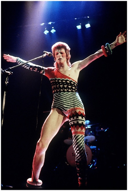 A knitted, asymmetric patterned stage costume 1973 Photo By Rex Features