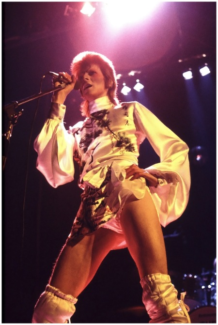 At a gig at London's Earl's Court wearing a silk printed polo neck. His costumes were inspired by Stanley Kubrick's A Clockwork Orange 1973 Photo By Rex Features