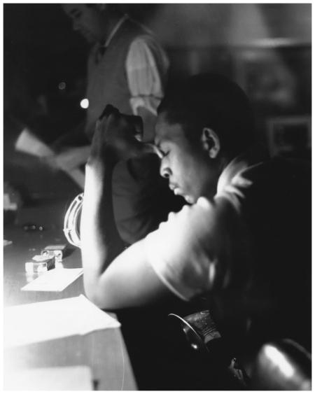 John Coltrane and Bob Thiele take a break from recording in Rudy Van Gelder's studio in the early 1960s Photo Burt Goldblatt