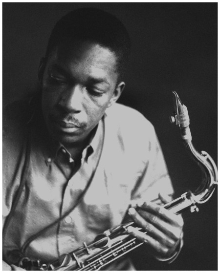 John Coltrane at the Van Gelder Studio, Hackensack, NJ 1957 (photo by Esmond Edwards)