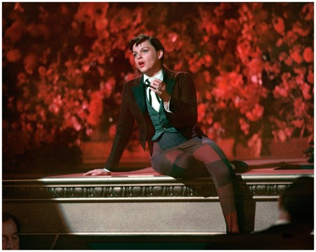 1954. Judy Garland in a still from one of the musical numbers in her movie %22A Star Is Born.%22 Color transparency by Robert Vose for Look magazine