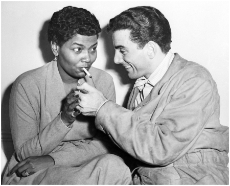 Drummer Louis Bellson Lighting Pearl Bailey's Cigarette